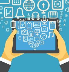 The businessman holding modern digital tablet devi vector image