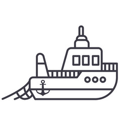boat fishing line icon sign vector image