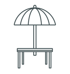 desk and umbrella restaurant vector image