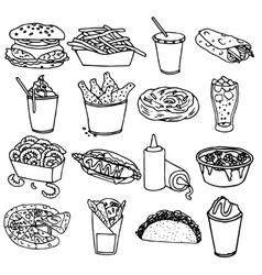 Fast food menu icons black outline vector image vector image