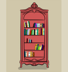 a large high cupboard of pink color with different vector image vector image