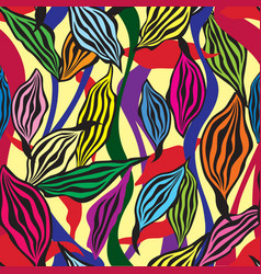 floral pattern leaves seamless background vector image