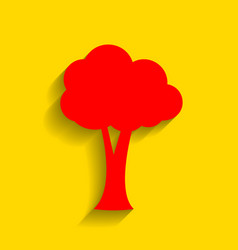 tree sign red icon with soft vector image vector image