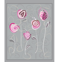 Abstract pink roses postcard vector image vector image