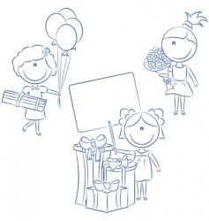 cheerfull girls make happy bir vector image