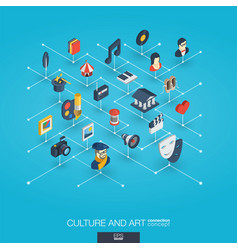 culture art integrated 3d web icons digital vector image