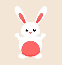 cute white easter bunny graphic vector image