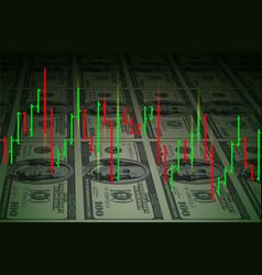 Exchange chart on dollars background for design vector