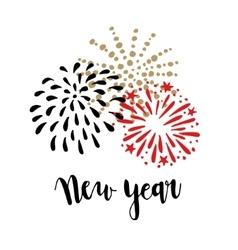 Happy New Year greeting card invitation Brush vector image