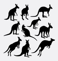 kangaroo wild mammal animal silhouette vector image vector image
