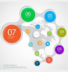 PrintNorth America Map and Elements Infographic vector image vector image