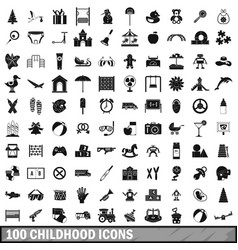 100 childhood icons set simple style vector