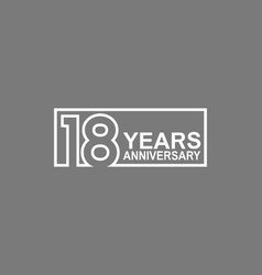 18 years anniversary logotype with white color vector