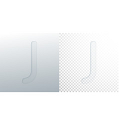 3d paper cut letter j isolated on transparent vector image