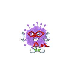A picture coronavirus influenza dressed super hero vector