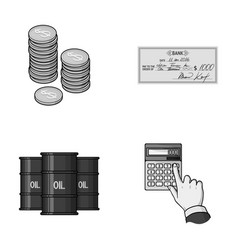 A stack of coins a bank check a calculator vector