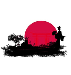 Abstract Asian Landscape with geisha silhouette vector