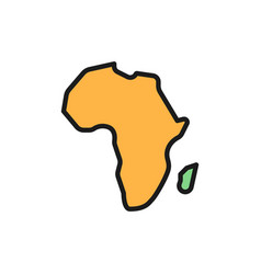 African continent africa flat color line icon vector