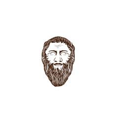 ancient beard greek philosopher figure face head vector image
