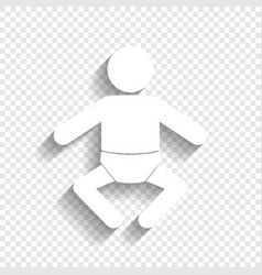 baby sign white icon with vector image