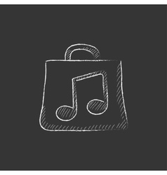 Bag with music note Drawn in chalk icon vector image