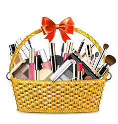 Basket with makeup cosmetics vector