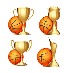 basketball game award set basketball ball vector image
