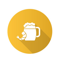Beer mug with shrimp flat design long shadow vector