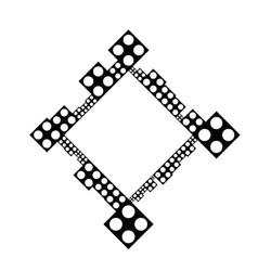 Black and white minimal dot badge decoration frame vector