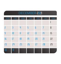 calendar 2019 december vector image