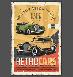 Cars retro show old rare vehicles exhibition vector