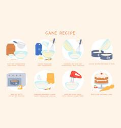 cartoon home baking cake recipe for dough vector image