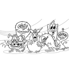 cartoon monsters group coloring page vector image