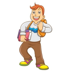 Child going to school with his backpack vector