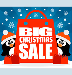 Christmas big sale background with funny penguins vector