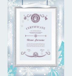 Christmas certificate with grey realistic border vector