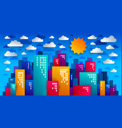 city houses buildings paper cut cartoon kids game vector image