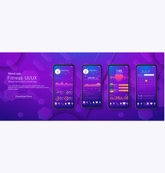 Clean mobile ui design concept mobile app vector