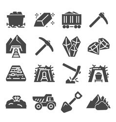 coal mining factory industry icons set vector image