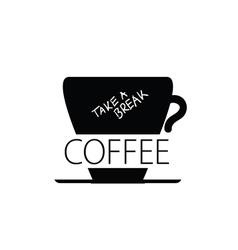 coffee break cup black vector image