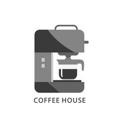 coffee house logo coffee machine icon vector image