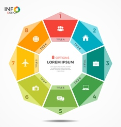 Colorful infographic template with circle chart 8 vector
