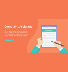 Complaint form on clipboard with hand landing page vector