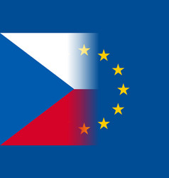 Czech republic national flag with a circle of eu vector