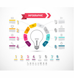 data flow diagram with bulb and icons infographic vector image