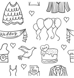 doodle of wedding element style unique vector image