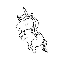 dotted shape beauty unicorn dancing with hairstyle vector image