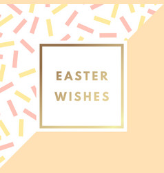 easter wishes greeting card with minimal design vector image