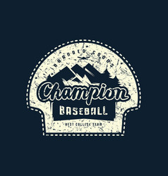 Emblem champions baseball team vector