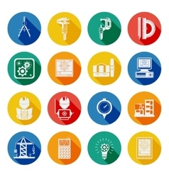Engineer Flat Round Icons Set Shadow vector